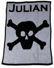 personalized full blanket with name and skull and crossbone