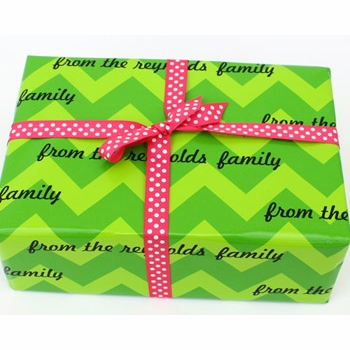 personalized gift wrap - chic chevron