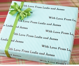 personalized gift wrap - turquoise stripes
