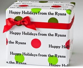 personalized gift wraps - holiday dots