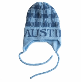 personalized gingham hat with earflaps