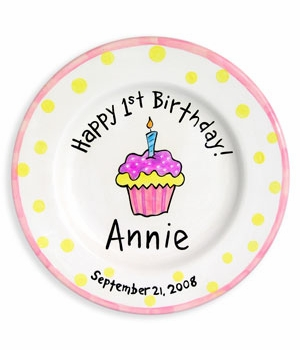 personalized girl birthday cupcake plate