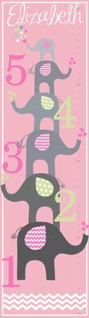 personalized girl elephant love canvas growth chart