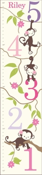 personalized girl monkeying around canvas growth chart