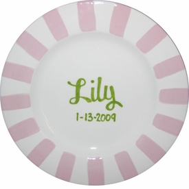 personalized girl striped mgm plate