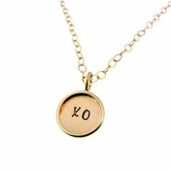 personalized gold charm necklace - kisses and hugs