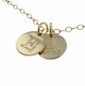 personalized gold double charm necklace