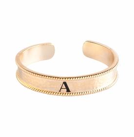 personalized gold plate initial cuff