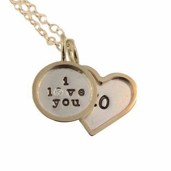 personalized gold rimmed valentines heart necklace