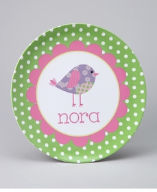 personalized green bird plate