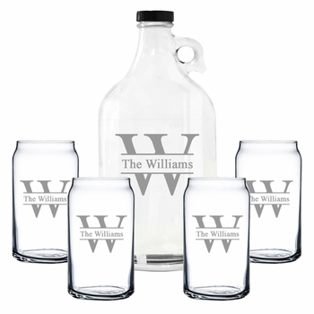 Personalized Growler & Beer Can Glasses Gift Set Prime Design