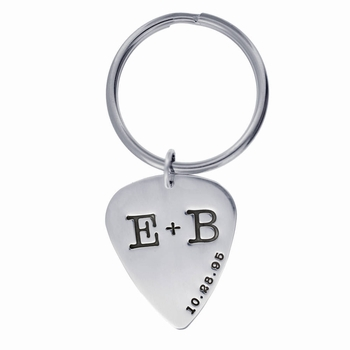 personalized guitar pick keychain