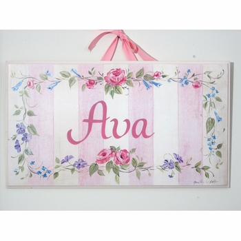 personalized handcrafted artwork - pink stripe/flowers
