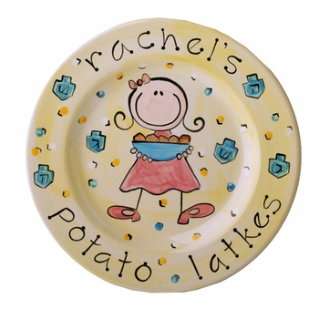 personalized hanukkah plate - girl