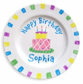 personalized happy birthday plate - pastel