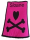 personalized heart and crossbones stroller blanket