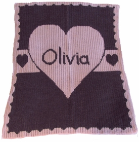 personalized heart with banner blanket