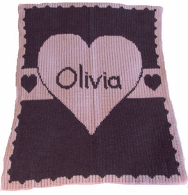 personalized heart with banner stroller blanket