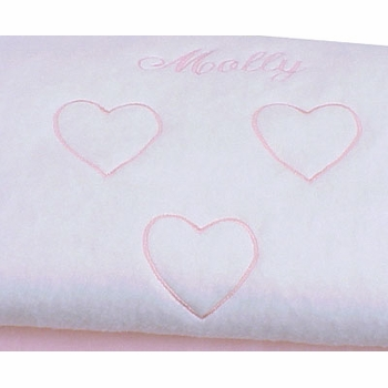 personalized hearts baby blanket