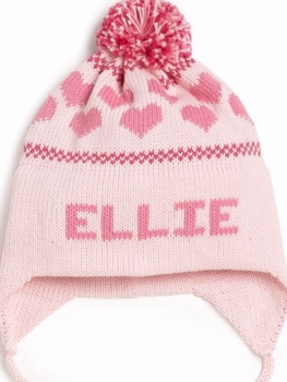 personalized hearts ear flap hat