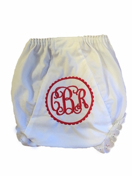 personalized heirloom scalloped circle monogrammed diaper covers