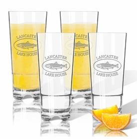 Personalized High Ball Glasses 16 OZ (SET OF 4) (Prime Design) (unbreakable)