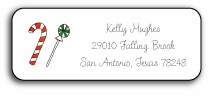 personalized holiday address labels - candyland