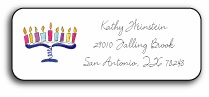 personalized holiday address labels � menorah