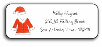 personalized holiday address labels � santa suit