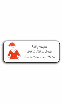 personalized holiday address labels – santa suit