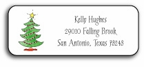 personalized holiday address labels � trim the tree