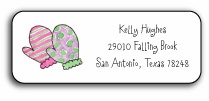 personalized holiday address labels � winter mittens