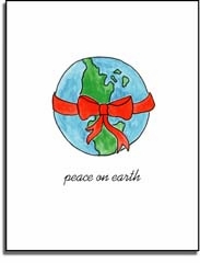 personalized holiday folded cards � peace on earth