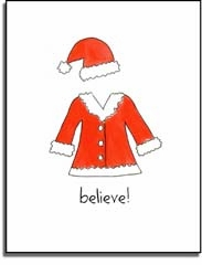 personalized holiday folded cards � santa suit