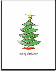 personalized holiday folded cards � trim the tree