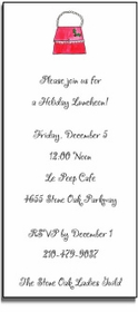 personalized holiday invitations � holiday handbag