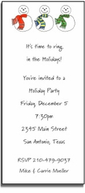 personalized holiday invitations � snowmen invite