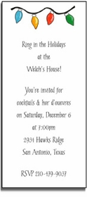 personalized holiday invitations � string of lights