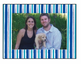 personalized holiday photo cards � blue stripes