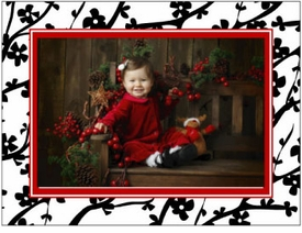 personalized holiday photo cards � red cherry blossom