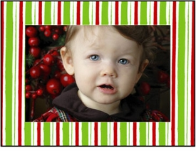 personalized holiday photo cards � red green stripes