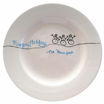 personalized holiday snowman plate