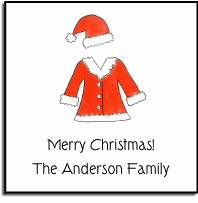 personalized holiday stickers � santa suit label