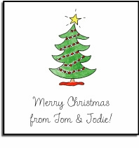 personalized holiday stickers � trim the tree label