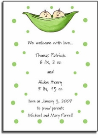 personalized invitations � 2 peas in a pod