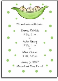 personalized invitations � 3 peas in a pod