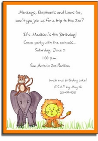 personalized invitations � 3 zoo friends