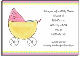 personalized invitations - baby buggy