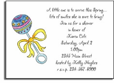 personalized invitations � baby rattle