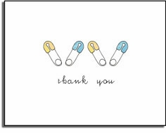 personalized invitations � blue diaper pins thank you
